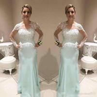 Mermaid Mother Of Bride Dress manga comprida 2020 V Neck Lace Applique Botão árabe Evening Formal vestidos de festa vestido de casamento