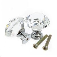 Perilla de la manija del gabinete Tirador de 30 mm Forma de diamante Cajón de vidrio cristal Puerta de la cocina Armario Tiradores de hardware