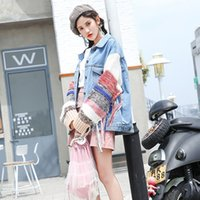 2018 New Boyfriend Style Tassel Casual Loose Blue Vintage Wool Sleeves Chaqueta de mezclilla Mujeres Long Sleeve Coat Chaquetas Women's Tops