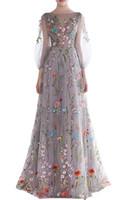 Nouveau Romantique Floral Broderie Robes De Bal Longues Puffy Manches Bateau Cou Charmante Robes De Soirée Filles Pageant Robe