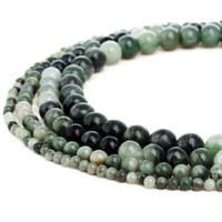 Natural Green Line Jasper Stone Beads Round Gemstone Loose B...