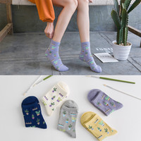 Cotton lady socks color small fresh cactus cotton socks wholesale 5 color free size free shipping