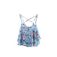 Donna Vintage Spaghetti Strap Floral Print Chiffon Tanks Top Summer Clothing Sexy Crop Top femminile