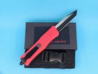 Vermelho 9,4 polegadas Grande 616 auto faca tática 440C borda única tanto fino preto lâmina EDC facas de bolso equipamento de sobrevivência