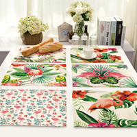 Flamingos Table Cloth Placemat For Western Food Rectangle Pa...