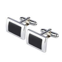 New Simple Style Black Rectangle Cufflinks Mens Shirt Cuff Button Christmas Gifts for Men Gemelli in argento placcato gemelos