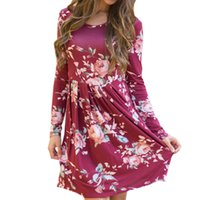 Floral Printed Knee- length Dress Oversized Autumn Dresses 20...