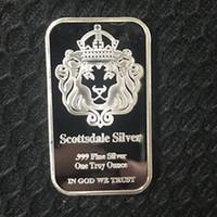 5 pezzi Non magnetico L'American Scottsdale testa di leone barra d'argento lingotto lingotto lingotto 50 mm x 28 mm decorazione del pacchetto vuoto moneta
