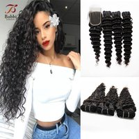 8A Brazilian Deep Wave Curly Hair 3 Bundles with Closure Fre...