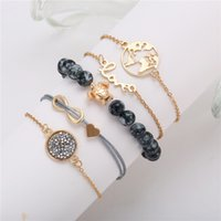 5Pcs Set Gold Color Fashion Bead Love Map Chain Link Bracele...