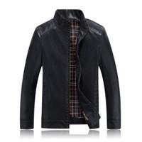 En gros-Hot haute qualité Printemps et Automne hommes d'affaires décontracté en cuir veste col manteau PU en cuir moto coupe-vent