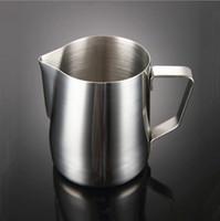 Taza de latte de acero inoxidable 150 ml 350 ml 600 ml Tire de la taza de flores para hacer espuma en la cafetera jarra con handel