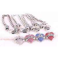Оптовая женский браслет сердце Шарм MEMAW письменный подарок для бабушки красивые кристаллы пшеницы звено цепи сплава цинка дропшиппинг