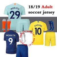 18 19 Adult kits + sock soccer jerseys 2018 2019 MORATA Haza...