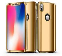 360 Grados Cobertura Total Galvanoplastia Espejo Galjanoplastia Cubierta de la Caja Del Teléfono Duro Para iPhone X 8 7 Plus 6 Samusng Galaxy S9 S8 S7 Edge Nota A5 A7