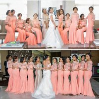 Coral Bridesmaid Dresses 2018 New 3 4 Long Lace Mermaid Maid...