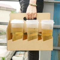 6 Bardaklar Kraft Kağıt Kahve Fincanı Tutucu Içecekler Suyu Kahve Süt Çay Take-away Ambalaj Almak Konteyner QW8776