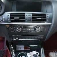 لوحة CD مركز نمط من ألياف الكربون وحدة التحكم الديكور غطاء تريم لسيارات BMW X3 F25 2011-17 ABS السيارة الداخلية الشارات