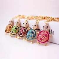 cute Trinket Gold- color Rhinestone Tortoise Keychains Metal ...