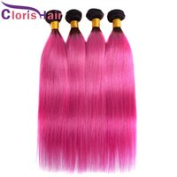 تسليط الضوء على اثنين من لهجة 1B الوردي مستقيم الشعر حزم جذور العذراء البرازيلي الإنسان ينسج الشعر رخيصة الوردي الداكن البرازيلية أومبير شعر إمتداد