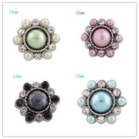 10pcs / lot New fashion 12mm mini bottone a pressione rhinestone snap gioielli per bracciali gioielli ciondolo collana KS8030-S