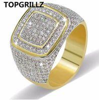 Topgrillz Hip Hop Ring All Eured Out Hohe Qualität Micro Pave CZ Ringe Frauen Männer Gold Ring Für Liebe, Geschenk