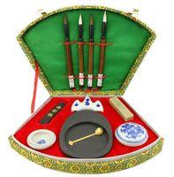 Çin kaligrafi fırçası kalem mürekkep Inkstone araç kutusu seti