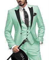 Modische Mint Green Men Anzüge Bräutigam Smoking Blazer mit einem Knopf Slim Fit 3 Stück spitzen Revers Formal Prom Best Men Anzug (Jacket + Pants + Vest)