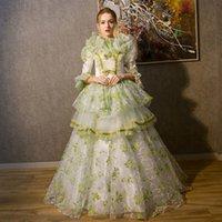 Kundenspezifische 2021 mittelalterliche Marie Antoinette Weihnachtsfeierkleid Retro grün / lila Rokoko Barockkugelkleider für Frauen