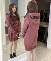 Inverno novo estilo longo das mulheres além de veludo plus sweater feminino com capuz versão coreana outono grosso solto jaqueta s camisolas tudent