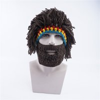 New men' s hat winter warm knit hat funny wig beard cap ...