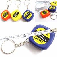 쉬운 개폐식 미니 측정 테이프 새로운 1PCS 귀여운 1 미터 색상 무작위 키 체인 키 링 도구 휴대용 당겨 눈금자 키 체인