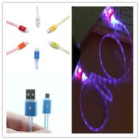 Visible LED Light Micro USB Cable 1m 3ft Flat Noodle Charger...