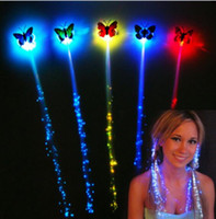 LED 장난감 다채로운 나비 헤어 소녀 할로윈 완구 LED 발광 섬유 광학 피그 테일 가발 Braids Led 머리 띠 YH962