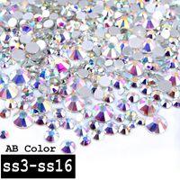 1 Paket Kristall AB Farbe Gemischt (SS3-SS16) Glas Nail art Strass Edelsteine Nicht Hix Flatback 3d Nagel Schmuck Dekoration Werkzeuge