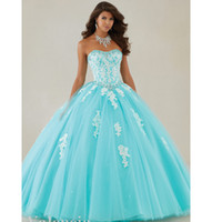 2019 Sweetheart appliques tulle robes de quinceanera Robe de bal Aqua Puffy Quinceanera Robes sweet 16 robes