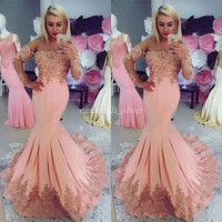 2018 Blush Mermaid Prom Dresses Long Sleeve Sweep Train Appl...