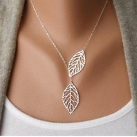 Cheap Hot Fashion Gold Silver Plated Chain Necklace Leaf Cas...