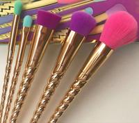 메이크업 브러쉬 세트 화장품 브러쉬 5 개 밝은 색상 장미 골드 나선형 생크 브러시 스크류 도구 메이크업 윤곽 소매 상자