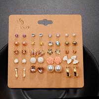 20 Paare / Los Punk-Art- und Weisebolzen-Ohrringe stellten für Frauen elegante Mischkristall-Blumen-Bogenmetallkugel-Ohrringe Schmuck 5 Arten ein