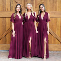 2018 Grape Deep V Neck Chiffon Bridesmaid Dresses for Wester...