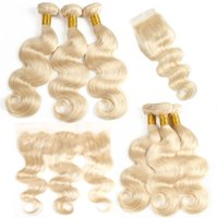 Brazilian Virgin Human Hair Body Wave 613 Blonde Bundles wit...