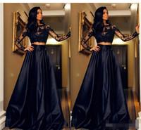 Дешевые черные две части платья выпускного вечера 2019 Jewel Illusion с длинными рукавами кружевные аппликации с открытой спиной плюс размер вечернее платье вечерние платья