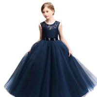 웨딩 2019 층 길이 여자의 드레스와 보석 목 얇은 명주 공의 꽃 파는 여자 드레스