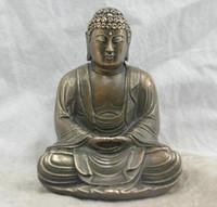 Frete grátis Chinês Folk Cultura Handmade Bronze Estátua de Bronze Sakyamuni Buda Escultura