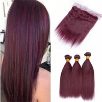 Ear to Ear Frontal with 99J Burgundy Hair Bundles Wine Red S...