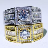 Nuovo arrivo originale Desgin vendita calda gioielli di lusso 10KT WhiteGold riempito tondo bianco topazio CZ diamante pietre preziose uomini anello confezione regalo