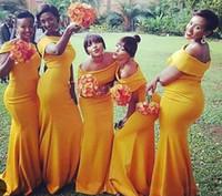 Vestidos de dama de honor de la sirena barata nigeriana sudafricana Off Hombro del piso Longitud de la dama de los vestidos de honores para la fiesta de bodas BM0178