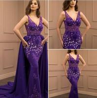 Vestidos de noche con cuello en V de sirena púrpura falda larga desmontable 2018 Bling alfombra roja Celebress Dressess