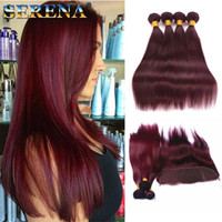 Vin Rouge Bourgogne Droite Vierge Cheveux Avec Fermeture # 99J Malaisie Cheveux Humains 4 Bundles Avec Frontale 13X4 Fermeture Dentelle Frontale Avec des Faisceaux